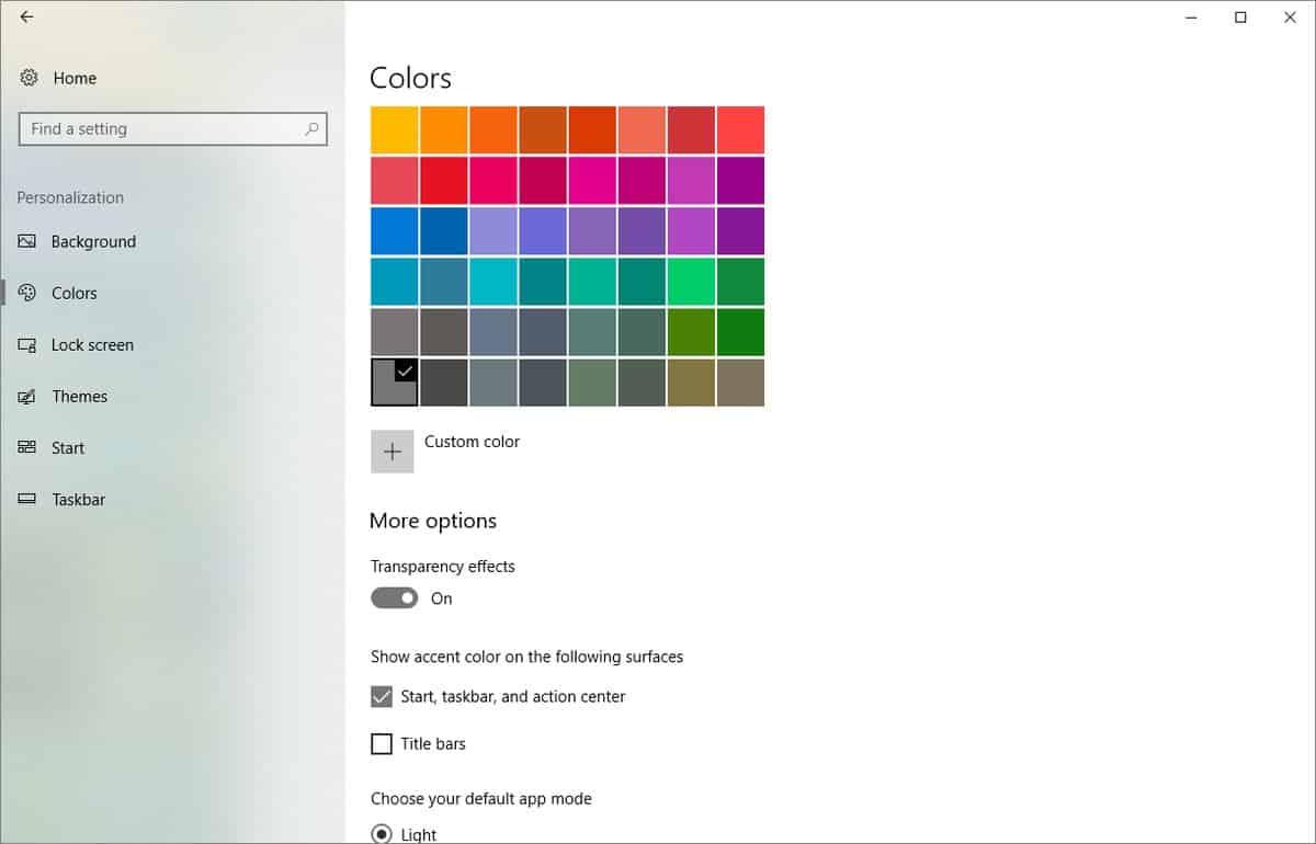 Nieuwe afbeeldingen tonen Fluent Design voor instellingenmenu Windows 10