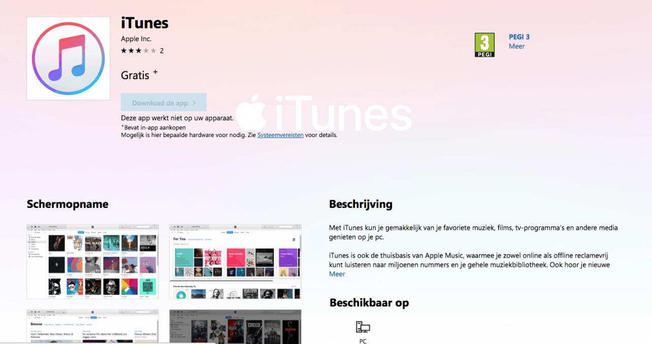 iTunes vanaf nu ook in Microsoft Store beschikbaar