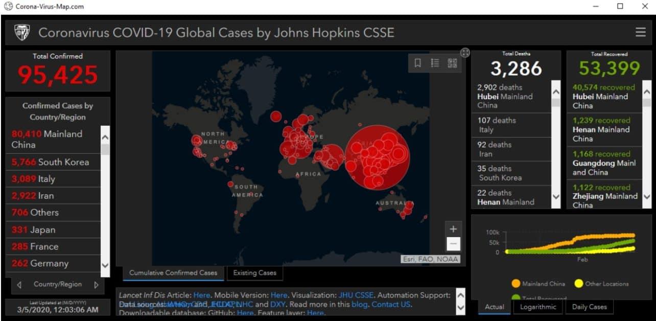 Hackers verspreiden malware met neppe coronavirus-wereldkaart